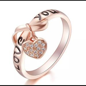"""NEW! DIANTY ROSE GOLD """"LOVE YOU""""💗HEART CHARM RING"""